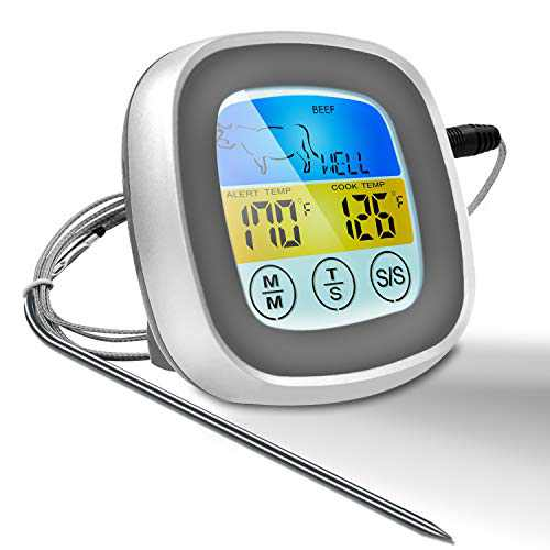 Digital Meat Thermometer,Instant Read Food Thermometer, Oven Safe Grill, Smoker, BBQ, Candy Thermometer with 40'' Probe Wire for Kitchen,Outdoor Cooking and Grill (Grey)