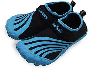 BomKinta Kids Summer Outdoor Water Shoes Barefoot Boys Girls Quick Drying Athletic Shoes for Beach Swim Pool or Water Sport Indoor Comfortable House Walking Sneakers Blue Size 1 M US Big Kid