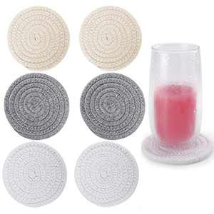 6Pcs Drink Coasters, ABenkle Stylish Handmade Braided Drink Coasters (4.3inch), Super Absorbent Heat-Resistant Round Coasters for Drinks, Great Housewarming Gift (3 Color-A)