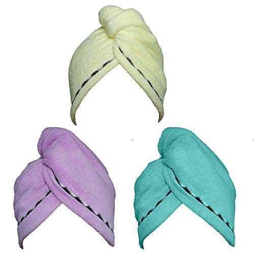 Hair Towel Wrap Turban 3 Pack Super Absorbent Microfiber Quick Dry Hair Turban Wrap, Dry Hair Hat, Wrapped Bath Cap with Lace Grooming 26inch/10inch Yellow/Blue/Purple