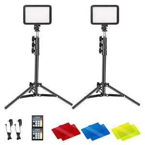 Neewer 2-Pack Conference Lighting Kit with Remote Control for Zoom Call Meeting/Remote Working/Self Broadcasting/Live Streaming, 3200K-5600K Dimmable LED Video Light with Tripod Stand/Color Filters
