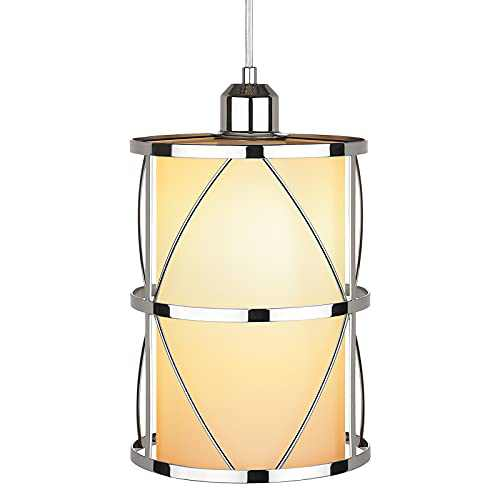 Industrial Pendant Light, Indoor Hanging Ceiling Light Fixture, with Milky Glass Silver Chrome Frame Shade Adjustable Cord for Kitchen Dining Room Living Room Bedroom Hallway, E26 Base