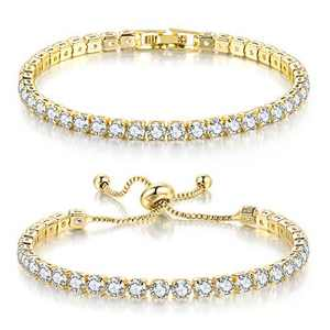 Double Fair 2 Pcs Tennis Bracelets for Women 14K Gold Plated AAA+ Cubic Zirconia CZ Diamond Classic Adjustable Slider Bracelet Fashion Jewelry Wedding Gift Size 6.5-7.5 Inch