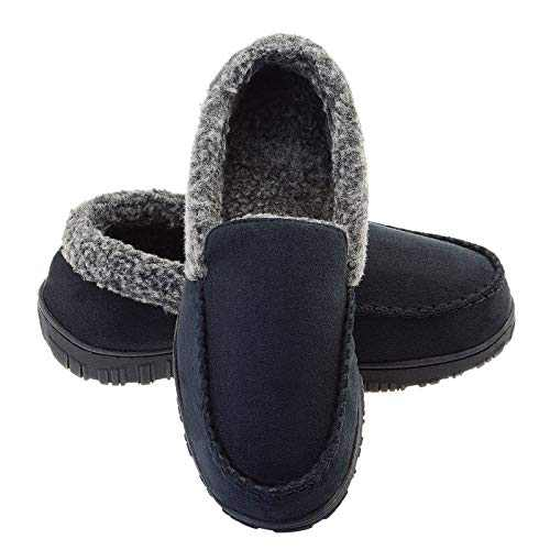 LseLom Mens Moccasins Slippers Faux-Fur Lining Memory Foam Indoor Outdoor House Shoes for Men Warm Bedroom Slippers Black US 14