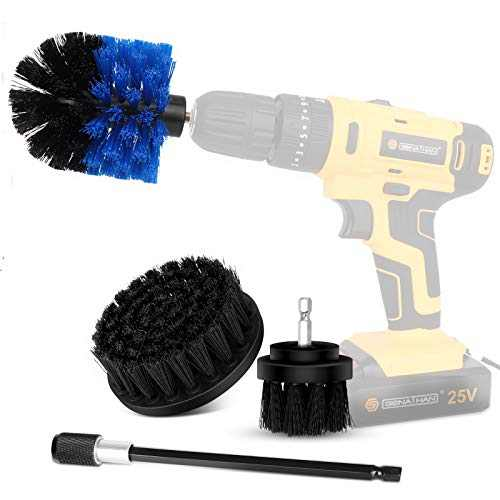 Drill Brush Power Scrubber Brush Cleaning Set 4PCS,Drill Scrub Brushes Kit with Long Attachment,Suitable for Bathroom surfaces, Tiles, Sinks, Kitchens and Cars Black (Drill NOT Included)