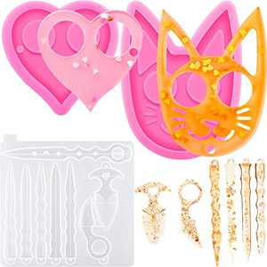 3 Pieces Keychain Resin Mold Include Cat Head Silicone Mold Heart Resin Casting Mold Keychain Pendant Epoxy Mould for DIY Crafts Making Tools
