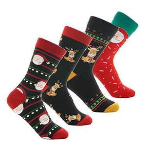 4 Pairs Christmas Holiday Socks For Men Women Men's Women's Festive Comfy Crew Socks Youth Boys Girls Ladies Funny Novelty Unisex Xmas Sox