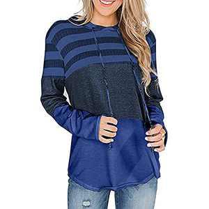TOPIA STAR 2021 Womens Crewneck Sweatshirts Color Block Short Sleeve T-Shirt Tunic Tops (Dark Blue - A, M, m)