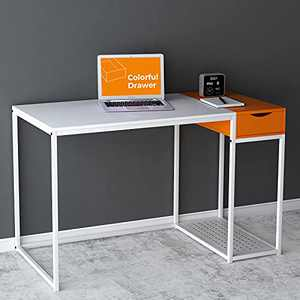 Computer Desk with Drawers Small White Home Office Desk Powerful Storage Shelves Kids Writing Desk with PC Stand Modern Wood Students Study Gaming Table with Wooden Secret Organizer, White & Orange