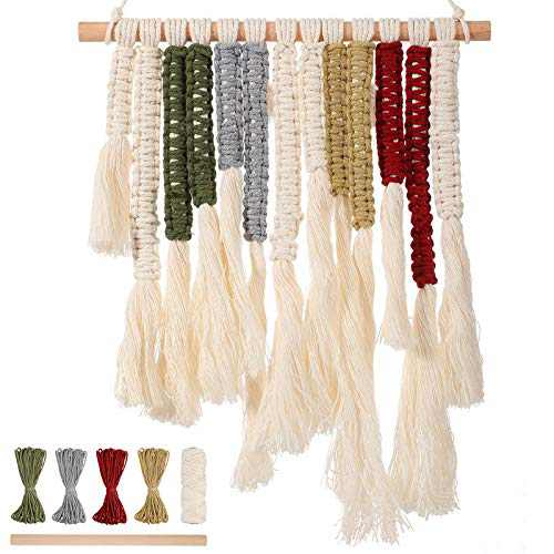 DIY Macrame Cord Kit Wall Hanging Macrame Kit Handmade Macrame Bohe Decor, Including Macrame Cords and Wooden Sticks for Home Room Office Garden Yard Wall Hanging Decorations