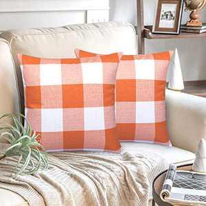 AGUDAN Plaid Throw Pillow Mother's Day Covers - Cotton Linen Decorative-Farmhouse Decor Cushion Pillowcase for Couch, Bed, Sofa, Car 2-Pack