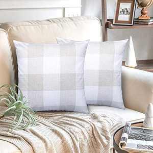 AGUDAN Plaid Throw Pillow Covers - Cotton Linen Decorative-Farmhouse Decor Cushion Pillowcase for Couch, Bed, Sofa, Car 2-Pack