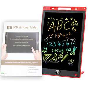 Q&F Tech 12 Inch LCD Colorful Writing/Drawing Tablets, Electronic Digital Doodle Pads/Boards, Message/Note Boards for School/Home/Office, Portable Electronic Digital Handwriting Pad_Red