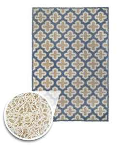 "XL 35"" x 23"" Door Floor Mat Indoor Outdoor Entrance Kitchen Bath Shower Garage Patio Non-Skid/Slip 100% Rubber Antibacterial Waterproof Flexible PVC - Use Anywhere Inside Outside (Blue Gold)"