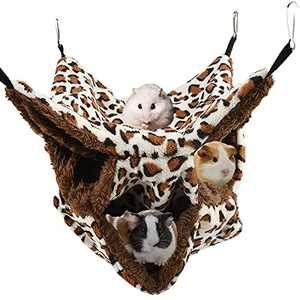 asita Small Animals Cage Hammock, Triple-Layer Warm Plush Ferret Rat Hammock Soft Fleece Hanging Bed for Guinea Pig Hamster Sugar Glider Squirrel Chincilla Parrot (Brown)