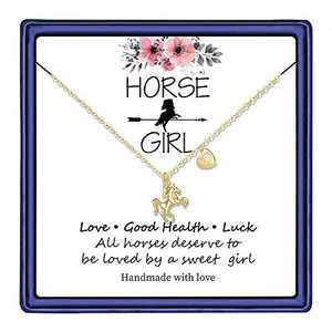 Hidepoo Horse Gifts Horse Necklace for Girls, 14K Gold Plated Letter D Initial Horse Pendant Necklace Horse Gifts for Girls Valentines Day Girls Gifts Toddler Necklace Kids Jewelry(D)