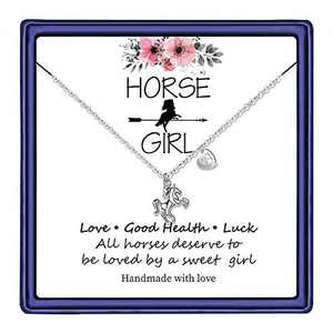 Hidepoo Horse Necklace for Girls Horse Gifts, 14K White Gold Plated Necklace Letter B Initial Horse Pendant Necklace Horse Gifts for Girls Horse Gifts Toddler Necklace Kids Jewelry(B)