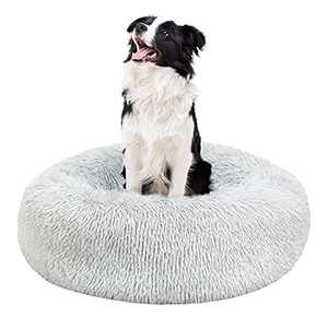 BEDELITE Dog Beds for Medium Dogs - Calming Dount Anxiety Dog Bed & Large Cat Bed, Washable Round Dog Bed 23X23 inch Fluffy Pet Beds for Medium Dogs in Faux Fur (Grey) Fit up to 45 LBs