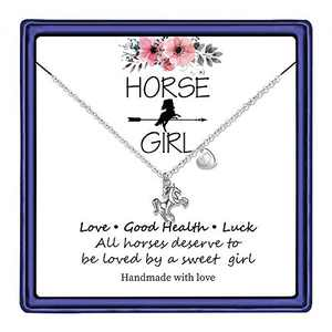 Hidepoo Horse Gifts Horse Necklace for Girls, 14K White Gold Plated Letter D Initial Horse Pendant Necklace Horse Gifts for Girls Valentines Day Girls Gifts Toddler Necklace Kids Jewelry(D)