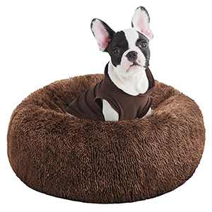 BEDELITE Dog Bed for Small Dogs - Calming Dount Anxiety Dog Bed & Large Cat Bed, Washable Round Dog Bed 23X23 inch Fluffy Pet Beds for Small Dogs in Soft Faux Fur (Brown) Fit up to 25 LBs