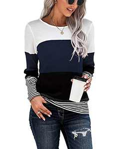 Mingnos Women's Color Block Striped Print Long Sleeve Sweater Pullover Knit T-Shirt Tops (Dark Blue, XL)