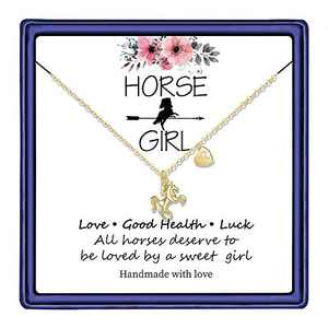 Hidepoo Horse Gifts for Teen Girls, 14K Gold Plated Letter R Initial Necklace Horse Gifts for Women Valentines Day Girls Gifts Teen Toddler Necklace Kids Jewelry Horse Gifts for Girls(R)