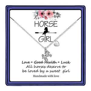 Hidepoo Horse Necklace for Teen Girls, 14K White Gold Plated Letter S Initial Necklace Horse Gifts for Girls Toddler Necklace Kids Jewelry Horse Gifts for Girls(S)