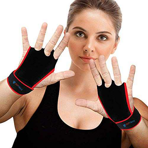 FITTEXX Workout Hand Grips Weightlifting Gloves for Men and Women Cross Training and Gymnastics Protection Gloves Blister Hand Protection 3-Finger Coverage Durable Comfortable (Red, Small)
