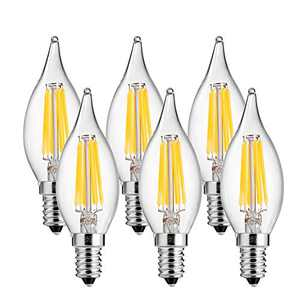 LEDGLE 4W LED Light Bulbs Dimmable E12 LED Lamp Bulb Filament Candle Lights for Chandelier and Wall Lamp, Warm White, 2700K, 420lm, Wide Beam Angle, 40W Traditional Bulb Equivalent, 6 Pc