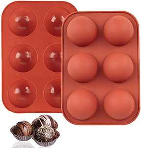 Silicone Sphere Mold For Chocolate, Hot Chocolate Bombs Mold, Half Circle Silicone Mold Resin, 6 Holes Semi Sphere Silicone Mold Cake Pop Silicone Tray Mold Brown(2 Pack)