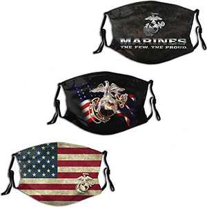 USMC United States Ma-ri-ne American Flag Men Women Face Mask 3PC with 6 Filter Reusable Adjustable Face Cover Washable Balaclava Made in USA