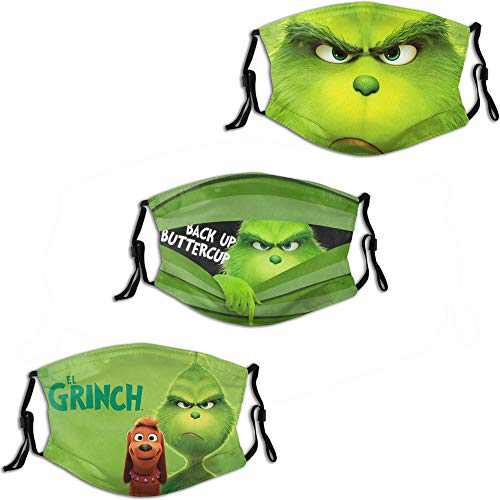 The Grinch Back Up Buttercup Men Women Face Mask 3PC with 6 Filter Reusable Adjustable Face Cover Washable Balaclava Made in USA