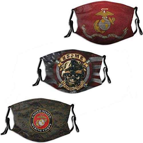USMC United States Ma-ri-ne Camo Men Women Face Mask 3PC with 6 Filter Reusable Adjustable Face Cover Washable Balaclava Made in USA