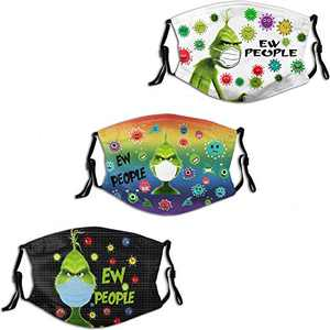 The Grinch Ew People Men Women Face Mask 3PC with 6 Filter Reusable Adjustable Face Cover Washable Balaclava Made in USA