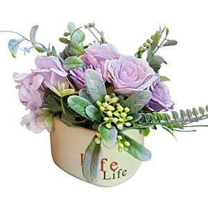 Artificial Flowers Bouquet with Ceramic Vase Pot for Decoration Table Centerpieces - Faux Fake Silk Rose Flowers Arrangements in Vase Table Centerpieces for Home Kitchen Bath Room Decor