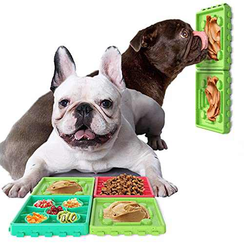 4PCS Dog Lick Pads Peanut Butter Licking Plate Slow Feeding Dog Bowl Can be Assembled or Disassembled Can be Used Mmultiple Dogs at The Same Time (Green)…