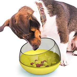 Dog Bowls Slow Feeder Puppy Tumbler Pot Non-Spill Feed Slower Anti-overturning Anti-Choking Pet Supply Eat Dogs Food Healthy (Yellow)