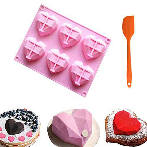 1 Pack Heart Molds for Chocolate Silicone Chocolate Bomb Molds Baking Cake DIY Mothers Day Gifts with Silicone Spatula Set (Heart)