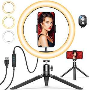 """10"""" Selfie Ring Light with Tripod Stand & Phone Holder, GPEESTRAC Desk Beauty Circle LED Ringlight for Makeup Photography Live Steaming Camera Vlog YouTube Video, Compatible with iPhone & Android"""