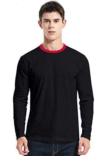 Men's T-Shirt Casual Cotton Spandex Striped Crewneck Long-Sleeve T-Shirts Basic Pullover Stripe Man tee Shirt (Pure Color/Black, Large)