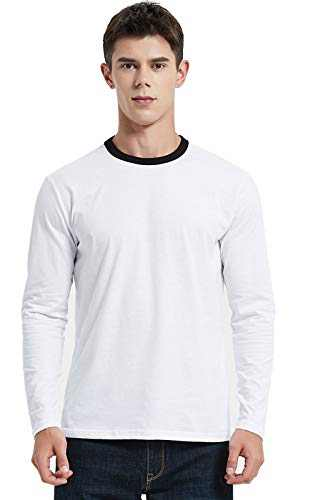 Men's T-Shirt Casual Cotton Spandex Striped Crewneck Long-Sleeve T-Shirts Basic Pullover Stripe Man tee Shirt (Pure Color/White, Large)