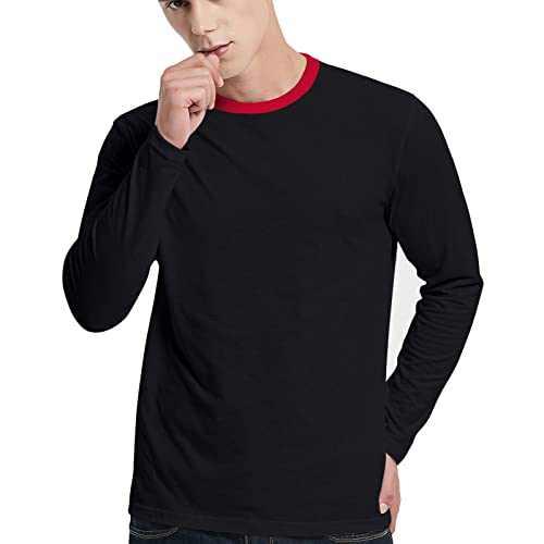 LEDING Men's T-Shirt Casual Cotton Spandex Striped Crewneck Long-Sleeve T-Shirts Basic Pullover Stripe Man tee Shirt (Pure Color/Black, Medium)
