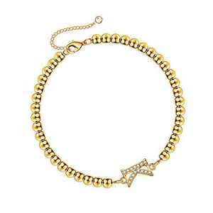 Hidepoo Bead Initial Bracelet for Women, 14K Gold Plated Beaded Bracelets Cubic Zirconia Letter K Initial Bracelets Womens Gold Jewelry for Girls