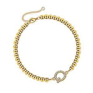 Hidepoo Initial Beaded Bracelets for Women, 14K Gold Plated Dainty Cubic Zirconia Bead Bracelets Personalized Letter Q Initial Bracelets for Women Girls Jewelry Gifts