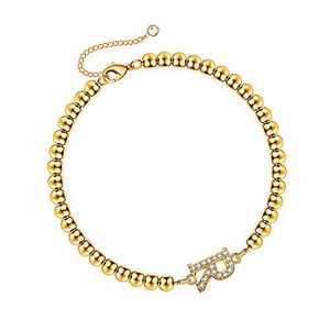 Hidepoo Cute Initial Bracelets for Girls, 14K Gold Plated Bead Bracelet Letter R Initial Bracelets Gold Kids Bracelet for Girls Toddlers