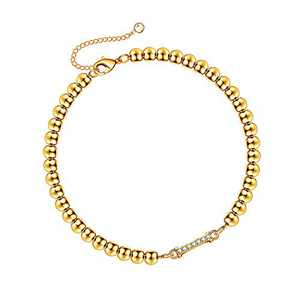 Hidepoo Gold Initial Bracelets for Women, 14K Gold Plated Letter I Beaded Bracelet Dainty Cubic Zirconia Gold Initial Bracelets for Women
