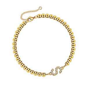 Hidepoo Bead Initial Bracelets for Women, 14K Gold Plated Cubic Zirconia Beaded Bracelet Minimalist Initial Bracelets for Women Bracelet with Initials S