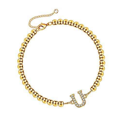 Hidepoo Bead Initial Bracelets for Women, 14K Gold Plated Beaded Personalized Letter U Bracelet Cubic Zirconia Initial Bracelets for Women