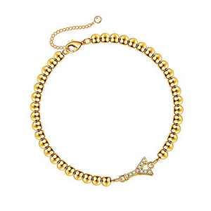 Hidepoo Initial Bracelets for Girls, 14K Gold Plated Dainty Cubic Zirconia Bead Bracelet Personalized Letter Y Bracelets for Girls Toddler