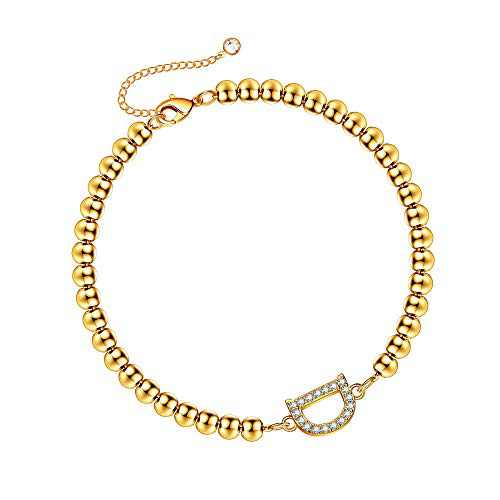 Hidepoo Initial Bracelet for Women Girls, 14K Gold Plated Bead Bracelet Letter D Cubic Zirconia Initial Bracelets for Girls Teen Girls Jewelry Gifts